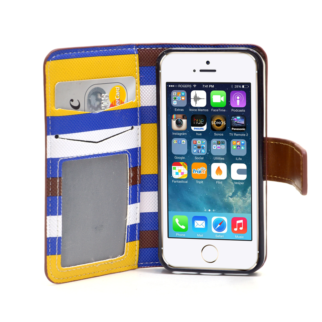 Dasein® Striped Phone Case for iPhone5 5s 5g-Yellow/Blue