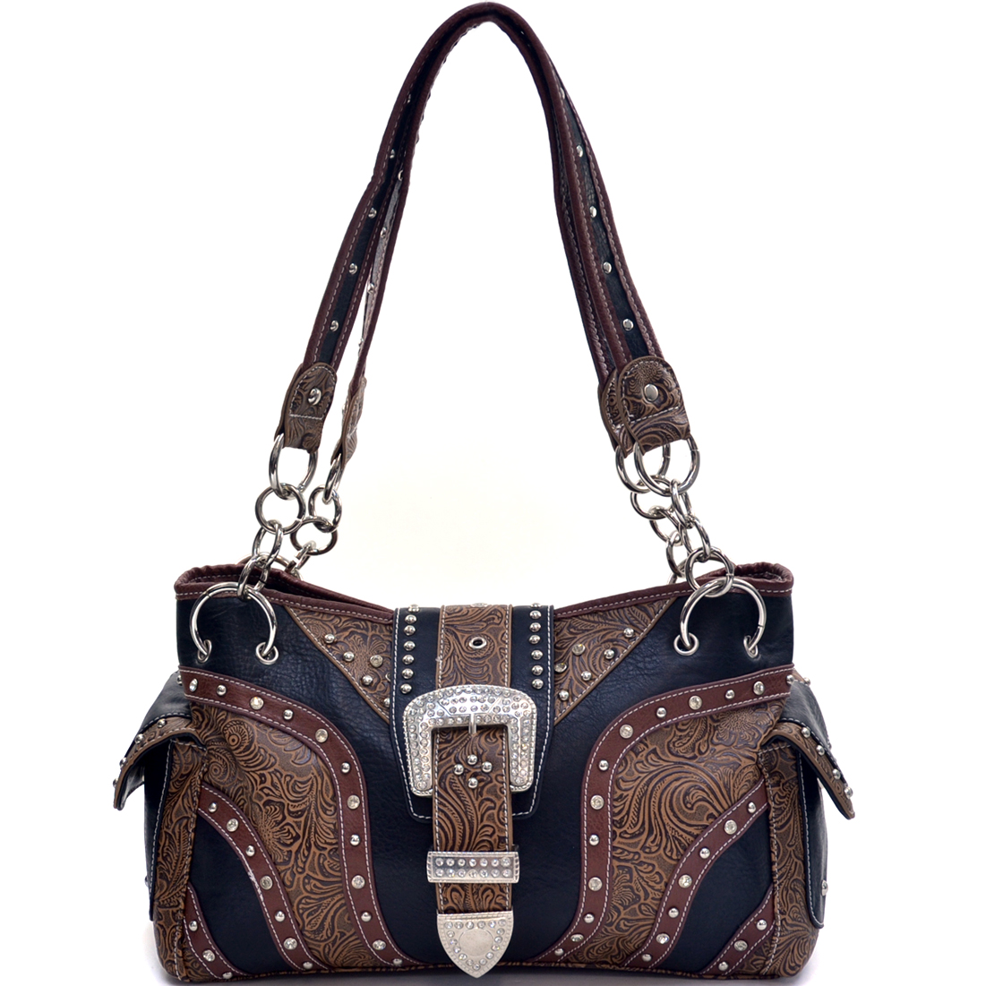 Faux Floral Tooled Western Rhinestone Buckle Bag