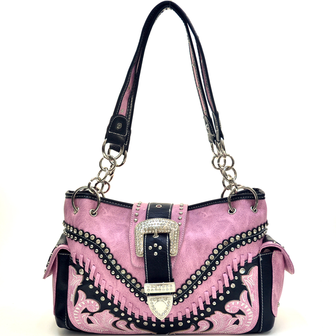 Faux Floral Embroidered & Western Stitched Rhinestone Buckle Bag