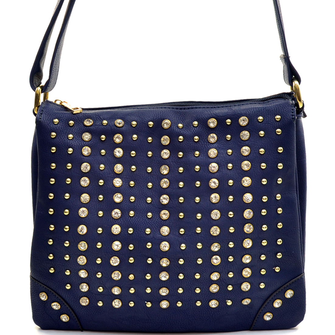 Rhinestone Gold Studded Messenger Bag