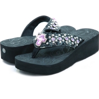 Women's Summer Sandals w/ Jeweled Cross & Rhinestones - Purple Rhinestones
