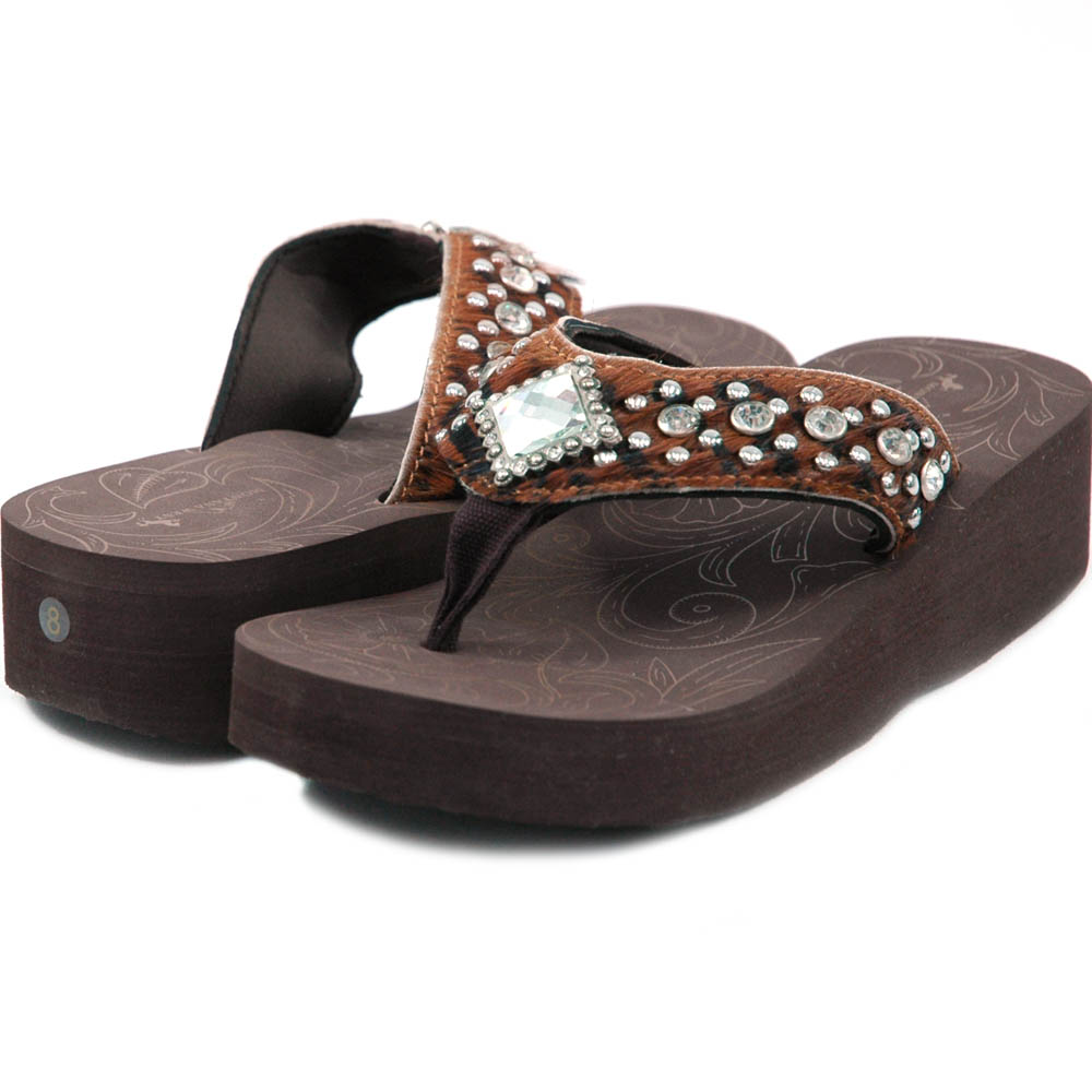 Women's Flip Flops w/ faux fur, jeweled diamond and rhinestones - Black/Brown