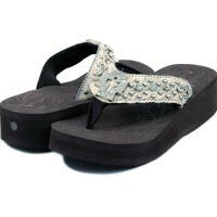 Women's Flip Flops w/ faux fur, cross symbol and rhinestones - Beige