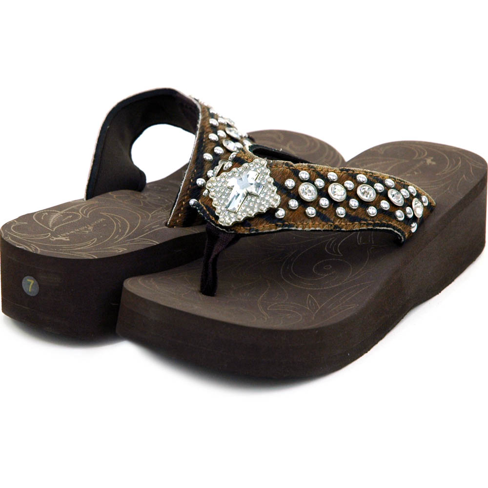 Women's Flip Flops w/ faux fur, jeweled cross symbol and rhinestones