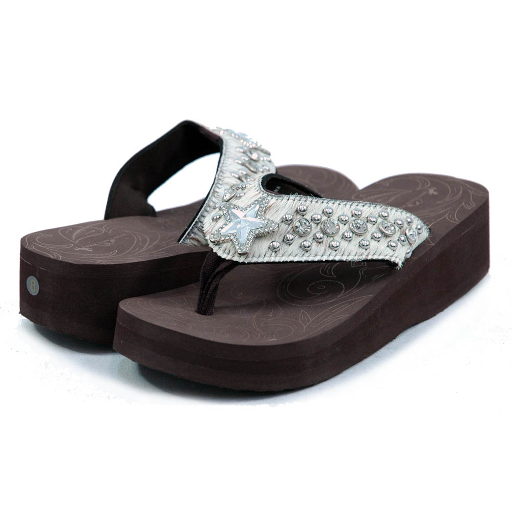 Women's Flip Flops w/ faux fur, rhinestoned star adornment and studs - Beige
