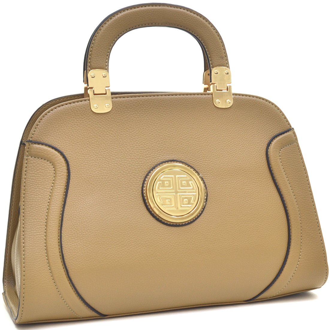 Dasein® Fashion Stitched Zip Around Gold Emblem Fashion Handbag