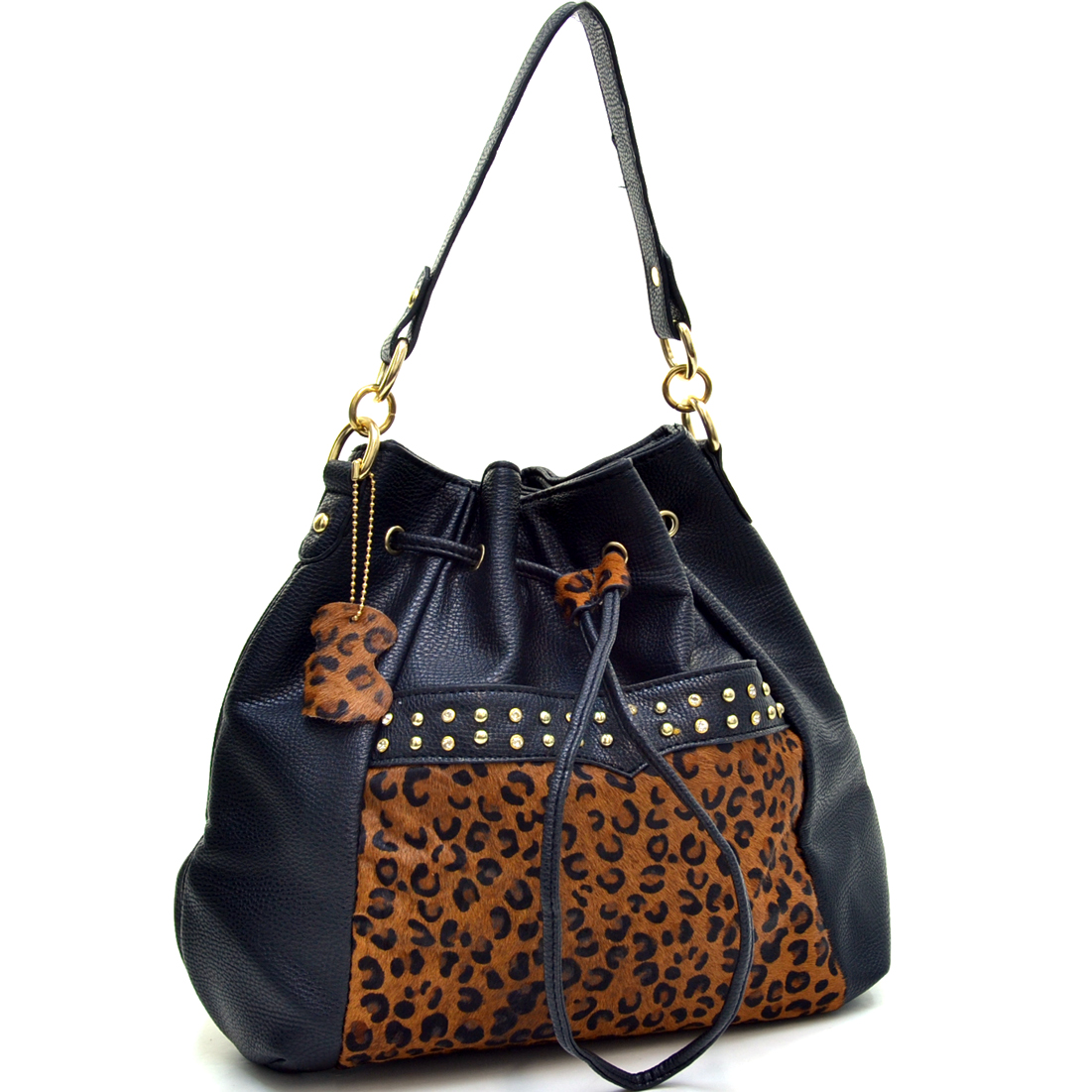 Rhinestone Studded Genuine Leather Panel Leopard Print Convertible Backpack