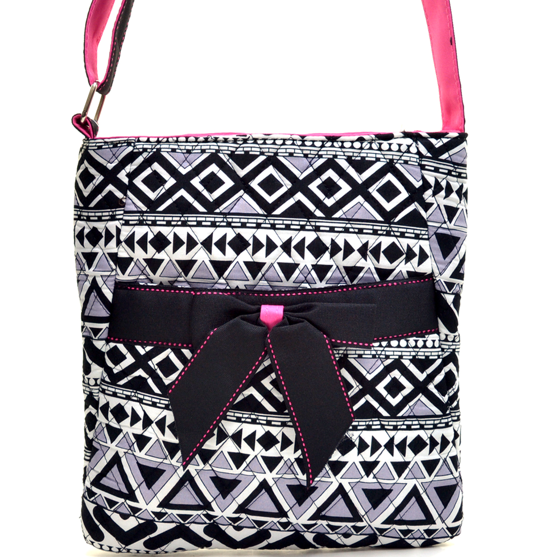Aztec Print Quilted Messenger Bag/Crossbody Bag w/ Removable Bow