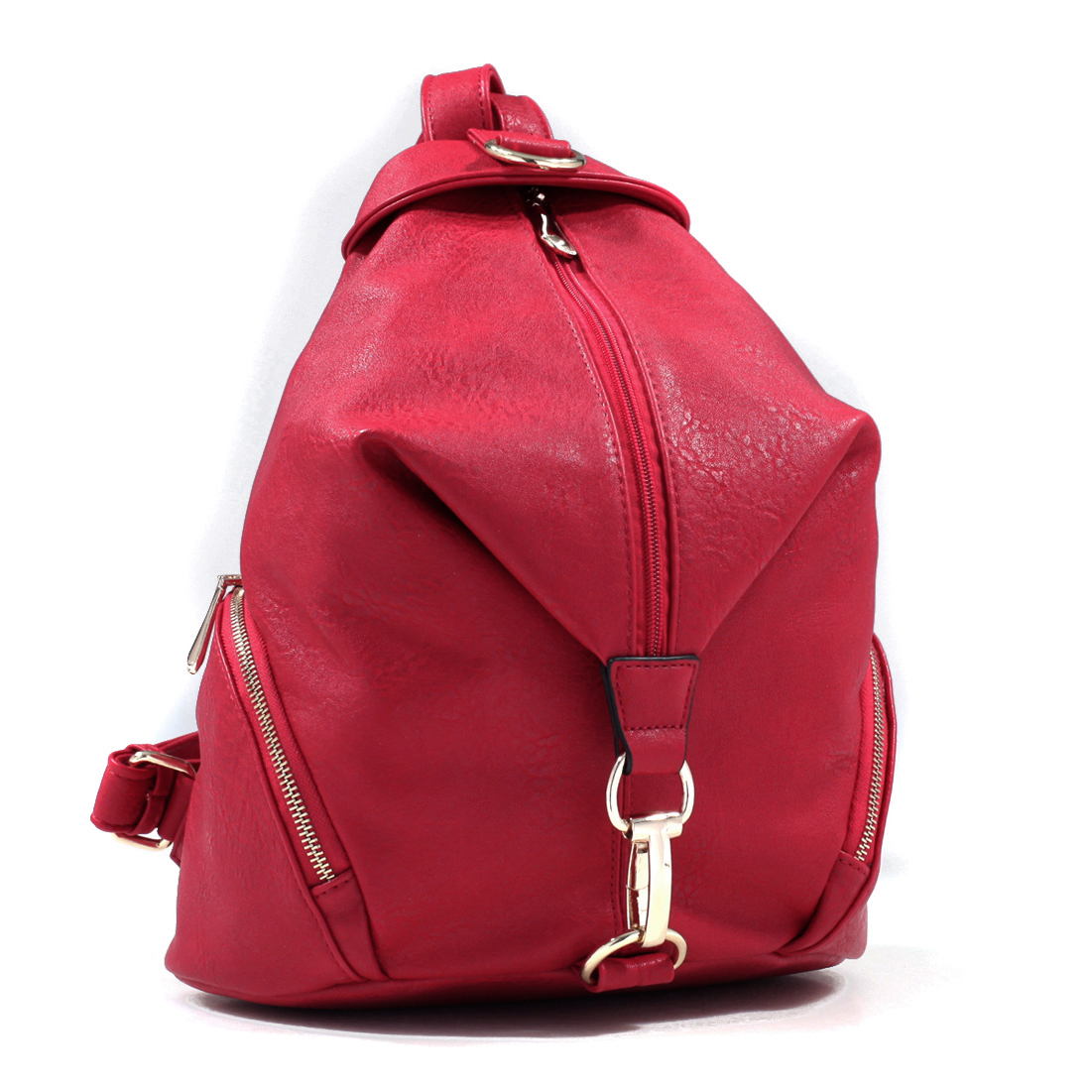 Fold Over Faux Zippered Backpack with Gold Tone Clip