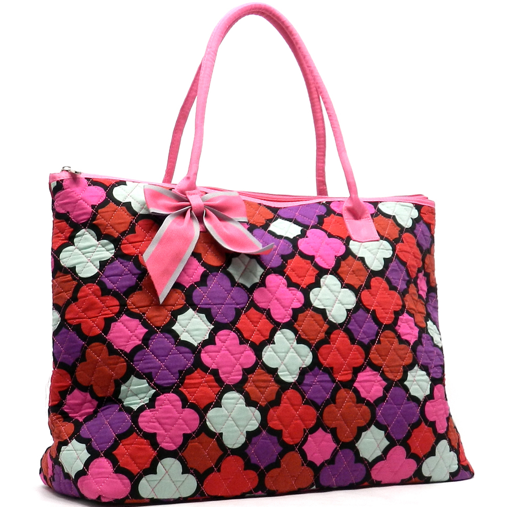 Oversized Quilted Quatrefoil Print Tote Bag with Removable Bow