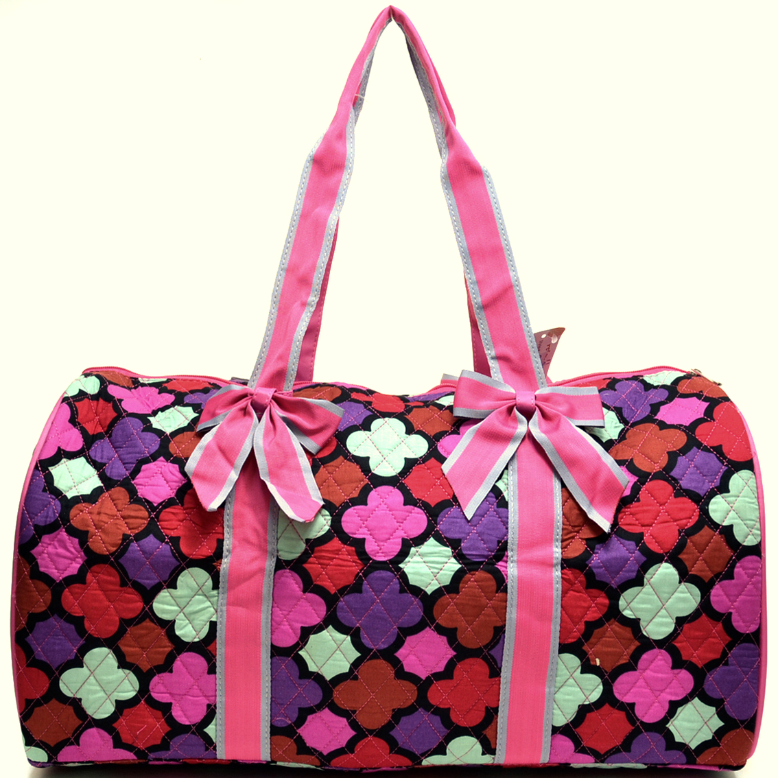 Quatrefoil Print Quilted Duffel with Removable Bow