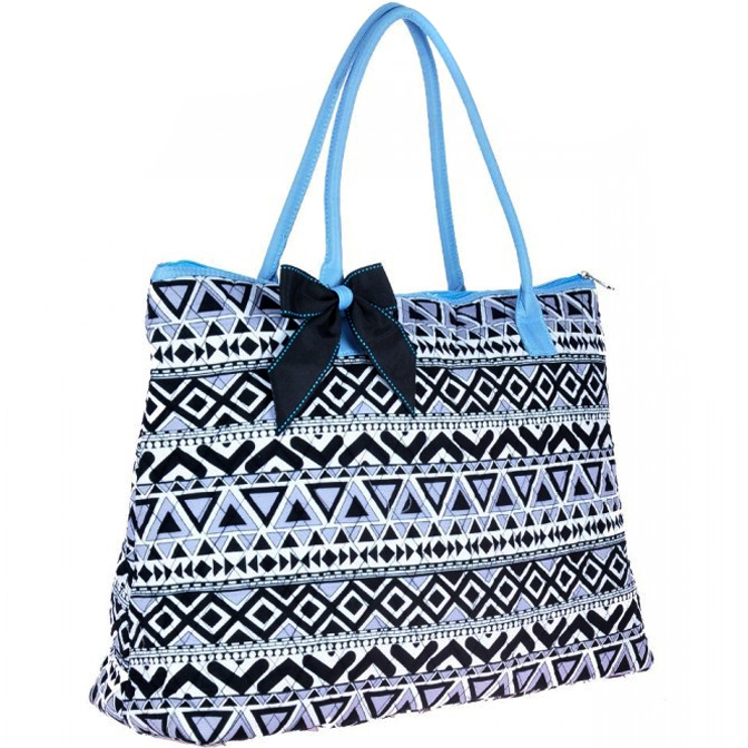 Aztec Print Quilted Tote with Removable Bow