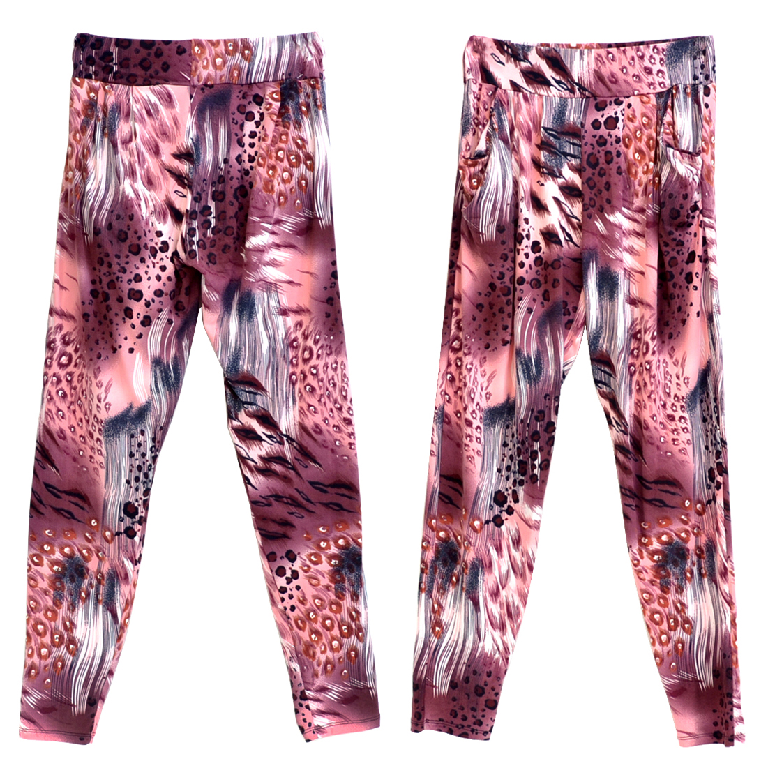 Feathered Leopard Print Harem Style Jogger Pants