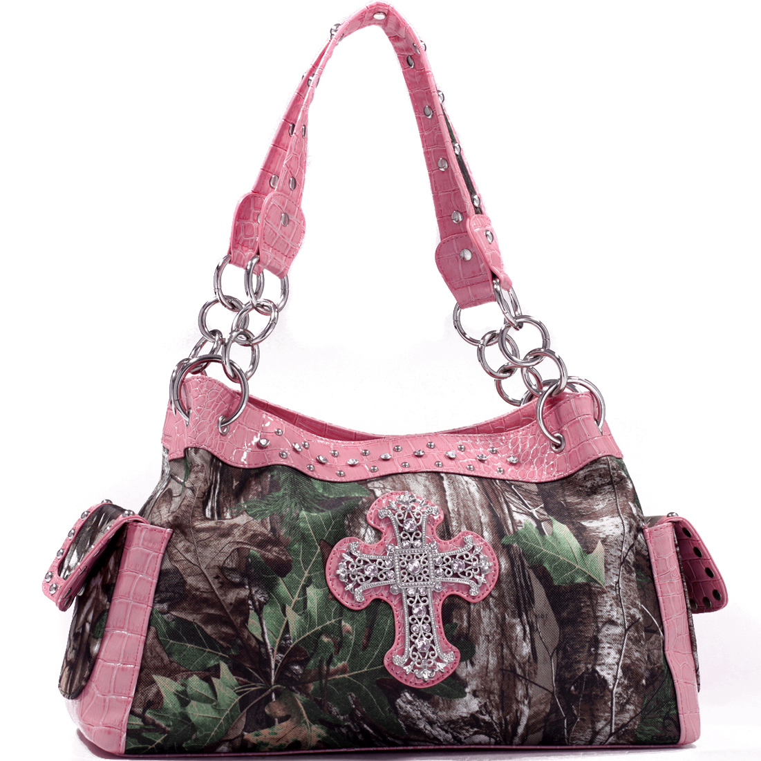 Realtree® Camouflage Shoulder Bag with Rhinestone Cross - Pink Camouflage/Pink