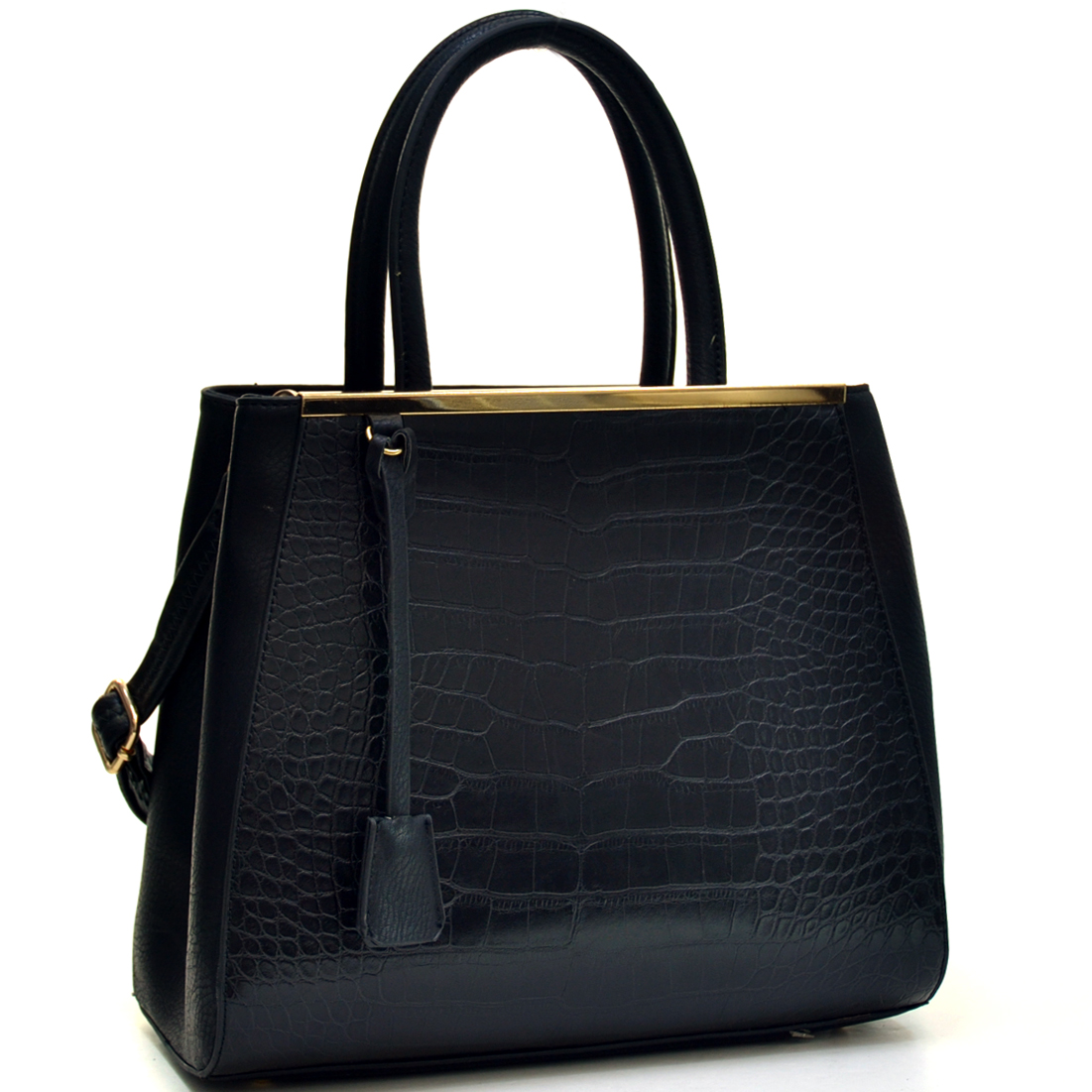 Two Tone Croc Tote w/Removable Shoulder Strap
