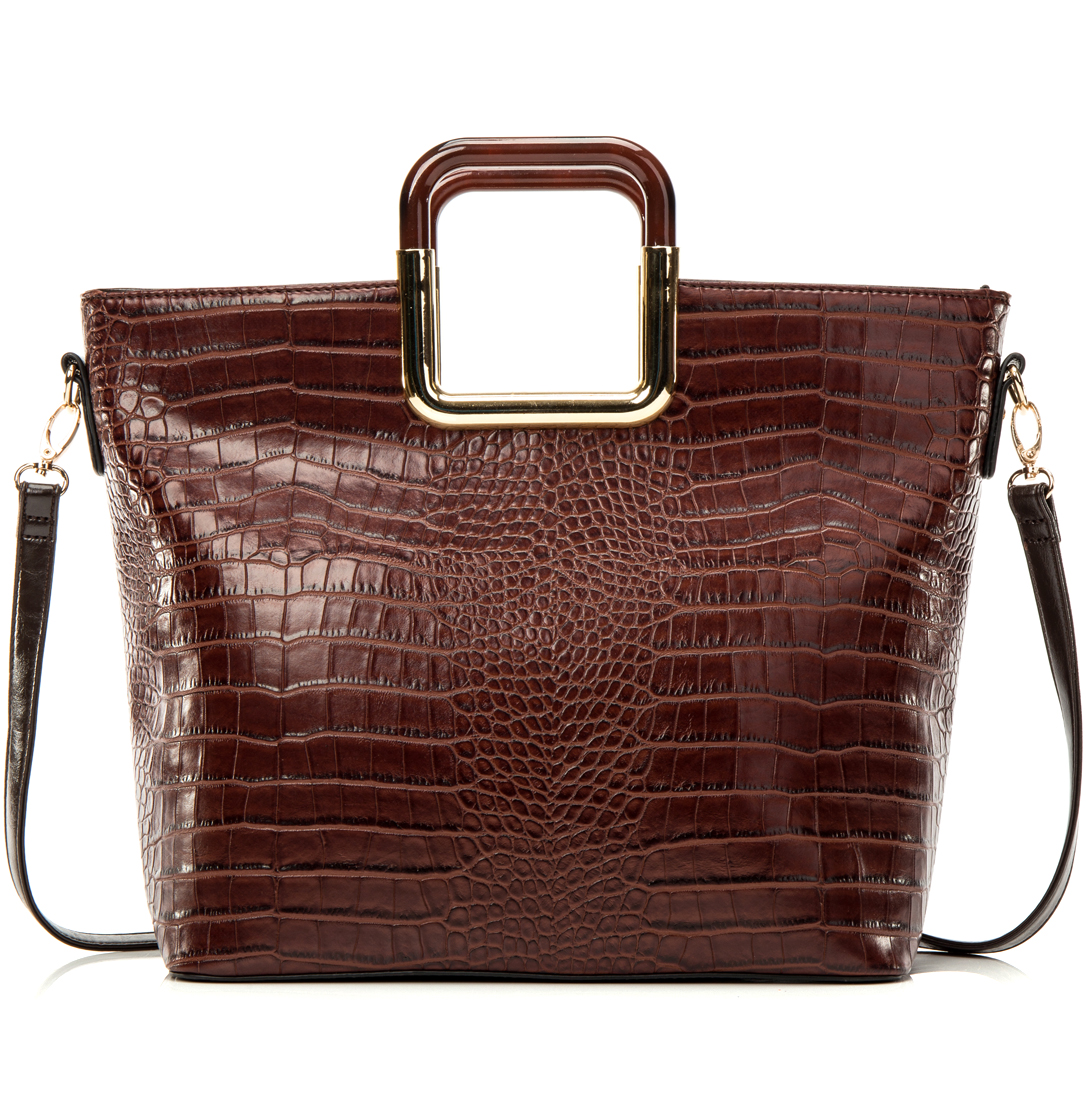 Dasein® Square Handle Croc Textured Tote w/Removable Shoulder Strap
