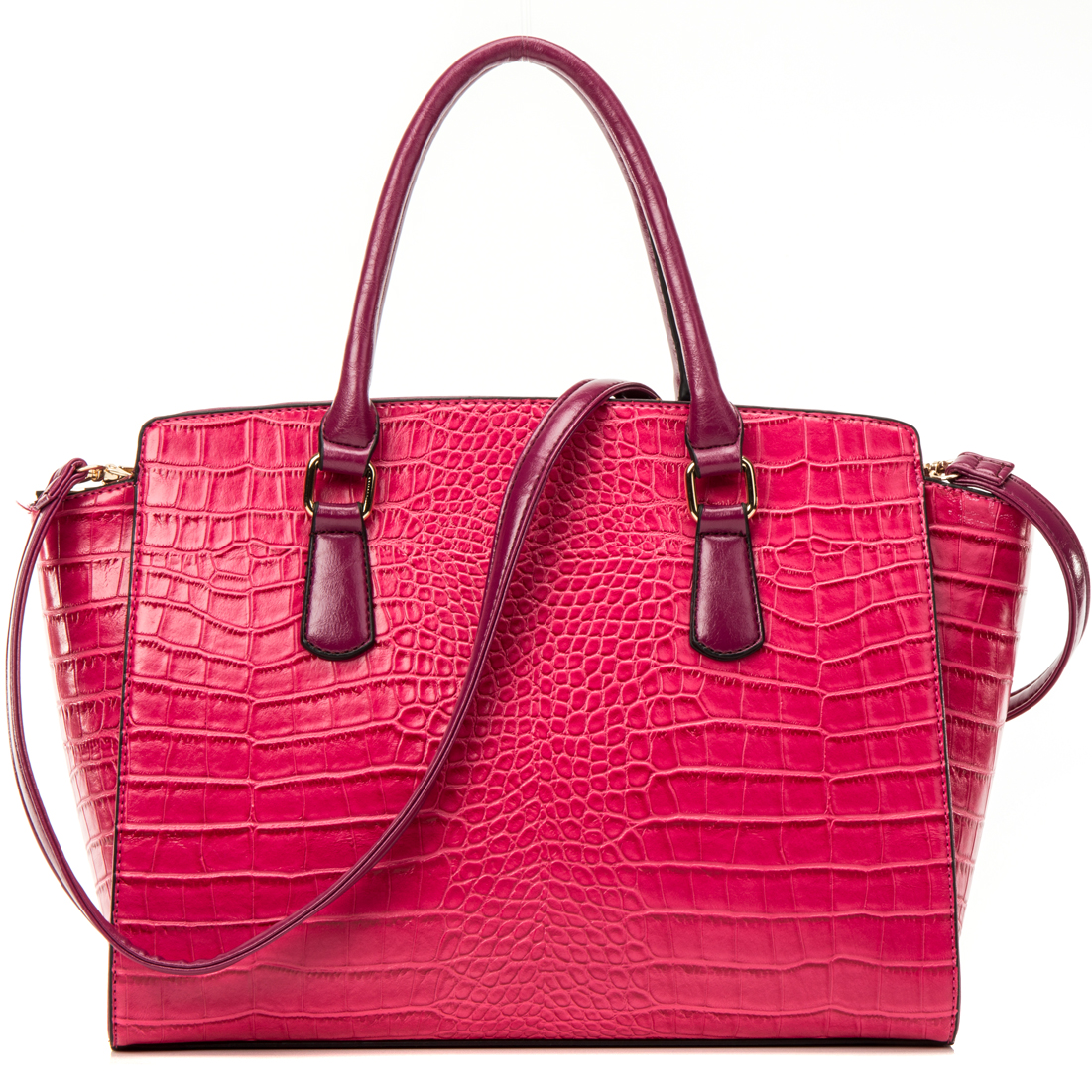 Dasein® Winged Croc Satchel w/Removable Shoulder Strap
