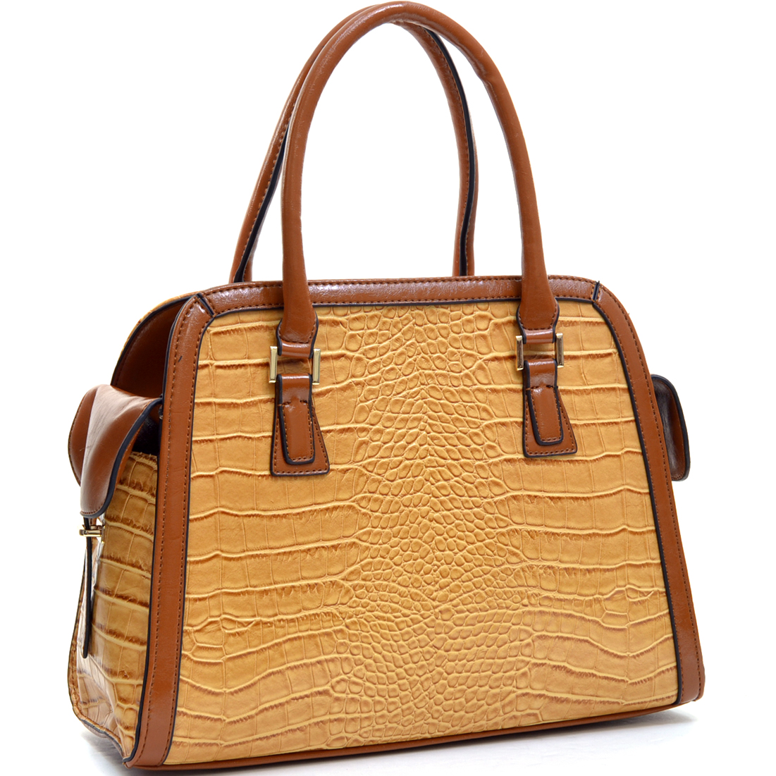Dasein®Croc Textured Fin Satchel w/Removable Shoulder Strap