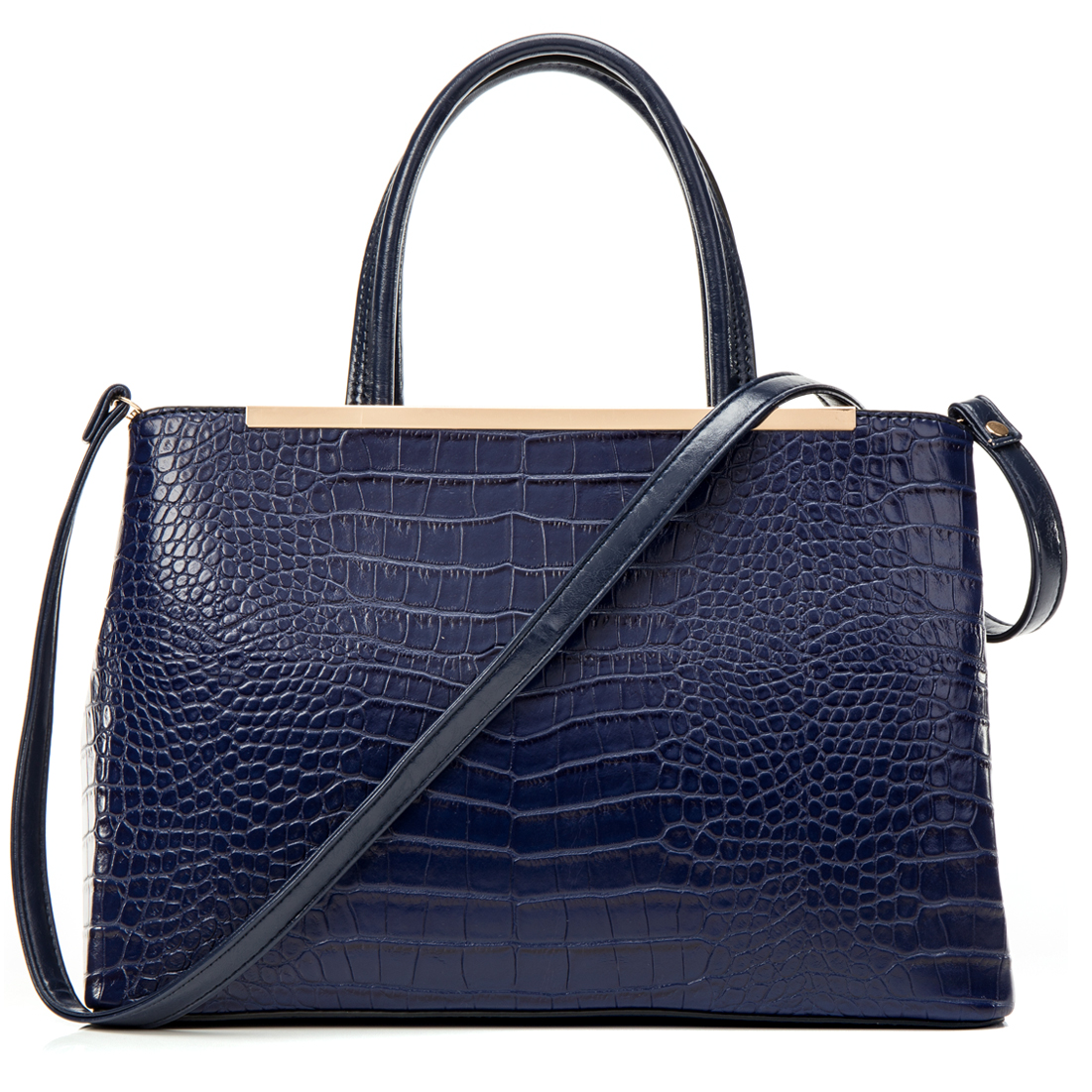 Dasein® Gold Tone Frame Croc Textured Tote w/Removable Shoulder Strap
