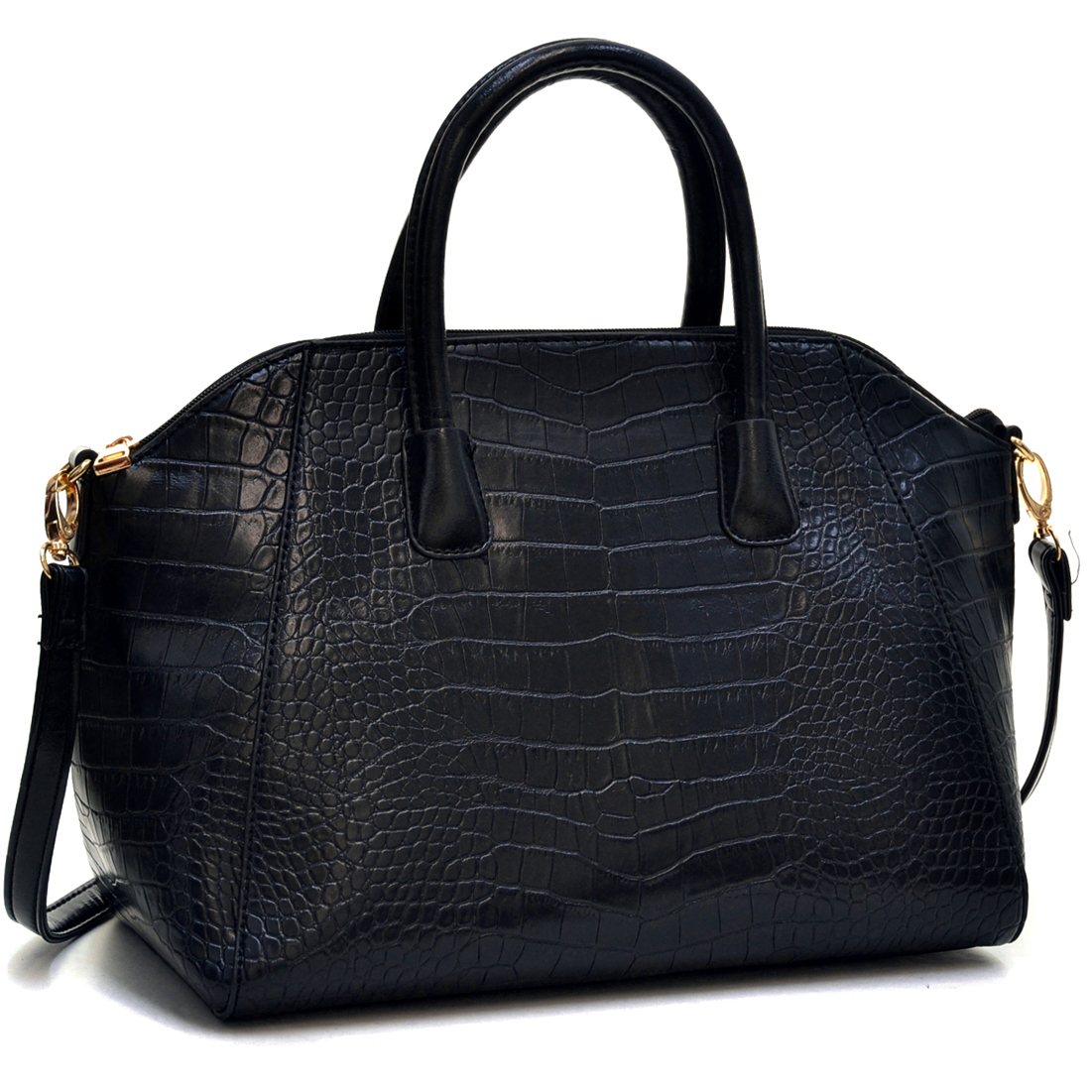 Dasein® Faux Croc Weekender Satchel w/Removable Shoulder Strap