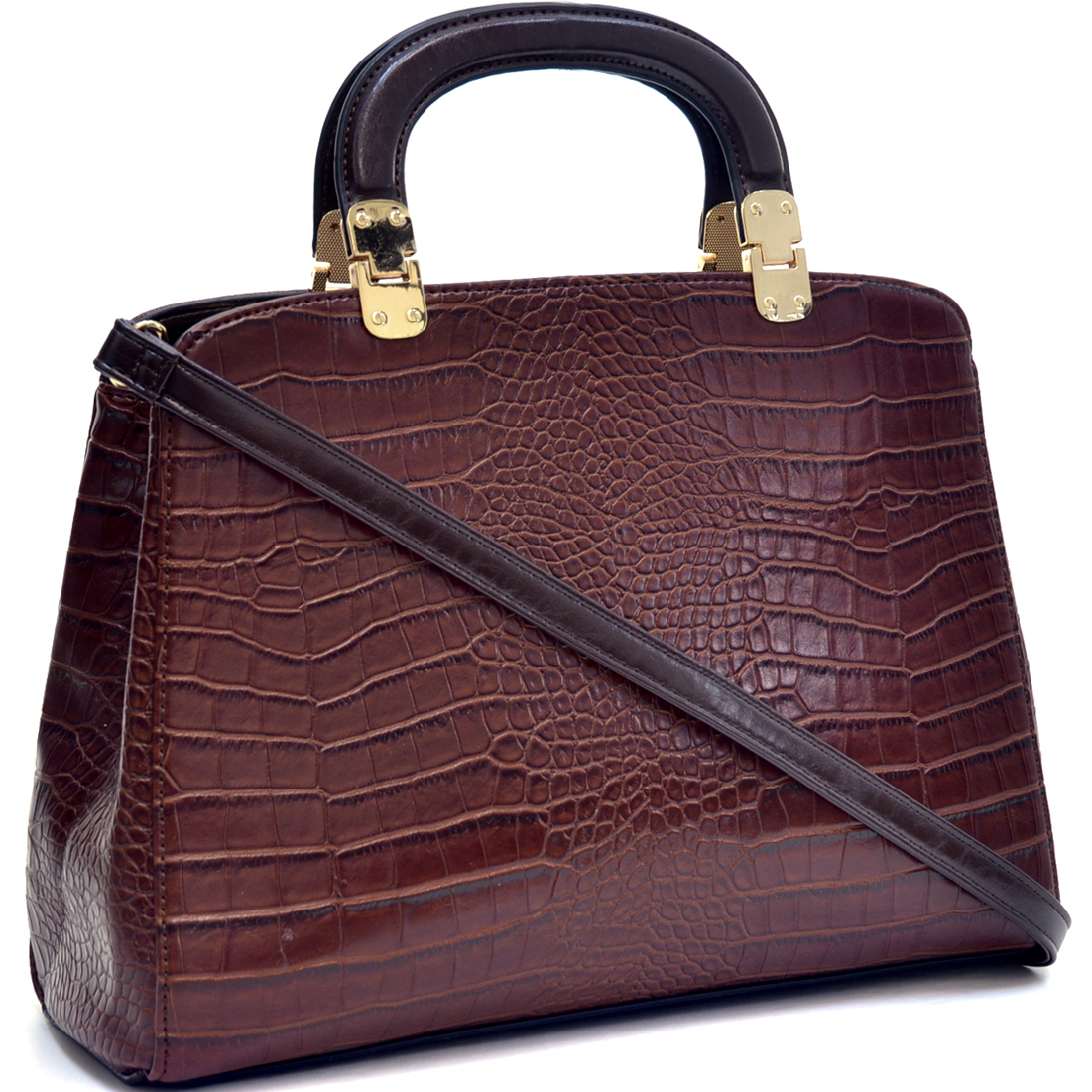 Dasein® Faux Croc Hinge Handle Briefcase w/Removable Shoulder Strap