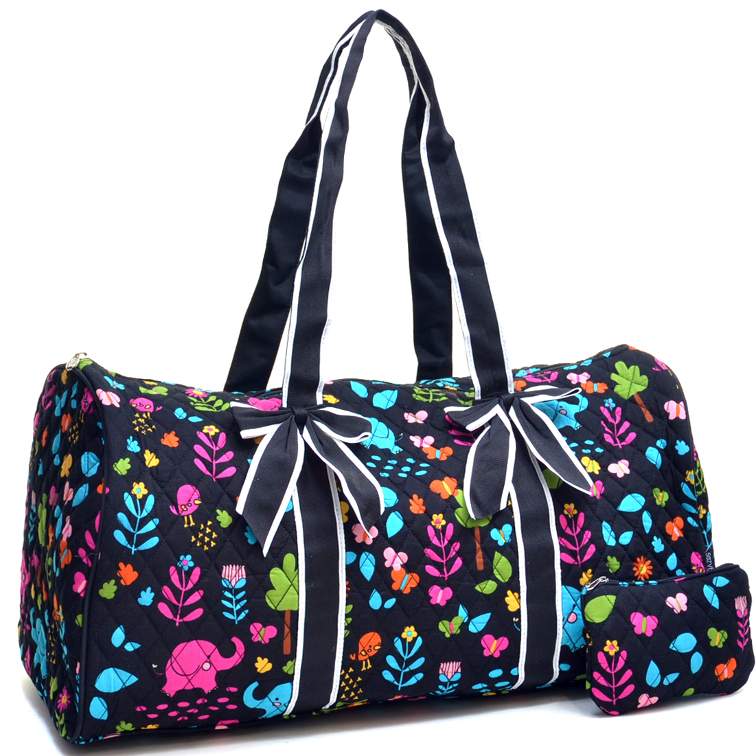 Elephant & Floral Print Quilted Cotton Duffel w/Removable Bow