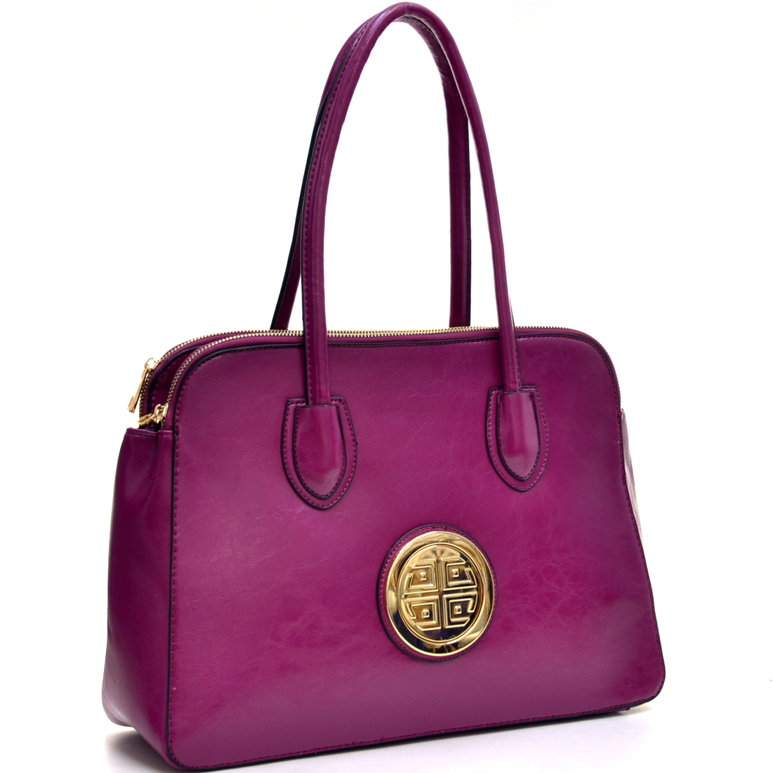 Dasein® Deep Gloss Triple Zip Emblem Satchel