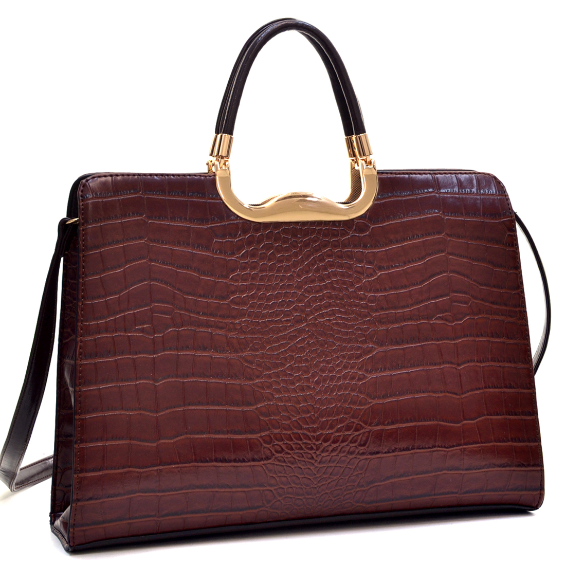 Dasein® Rolled Handle Faux Croc Briefcase with Removable Shoulder Strap