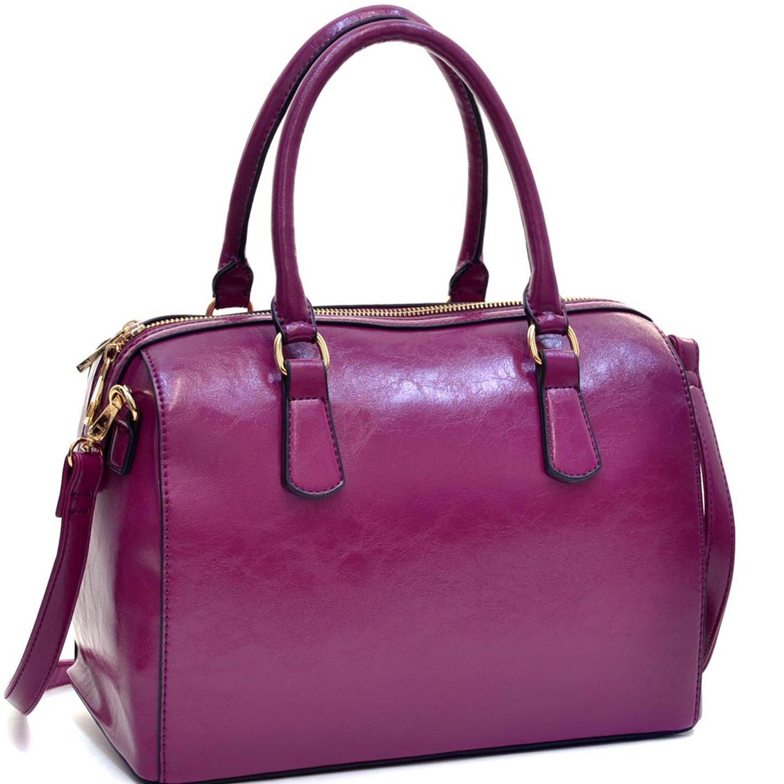Dasein® Deep Gloss Barrel Body Satchel w/Removable Shoulder Strap