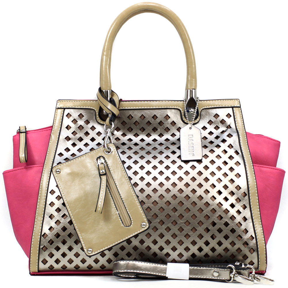 Women's Two-tone Metallic Contrast Fashion Shoulder Bag w/ Bonus Strap & Coin Pouch