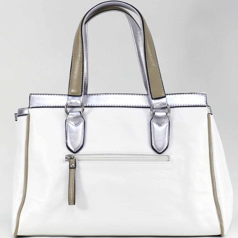 Women's Two-tone Metallic Contrast Fashion Satchel Bag w/ Front Twist lock Concealed Pocket