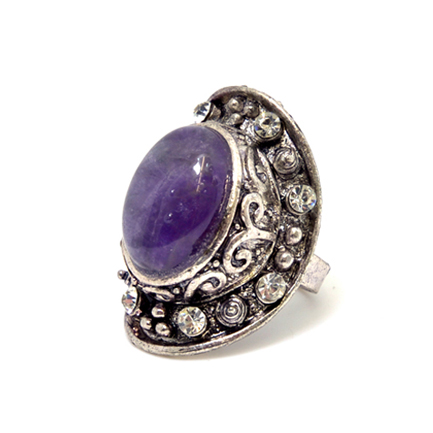 Silver Tone Rings with Natural Stone Accent and Rhinestones