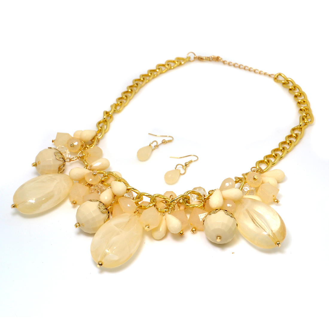 Gold-Tone Beaded Bib Necklace with Matching Earrings