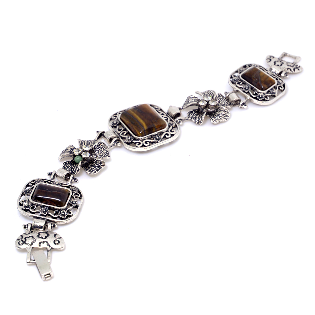 Silver Tone Bracelets with Natural Stone Accent and Rhinestone Florets