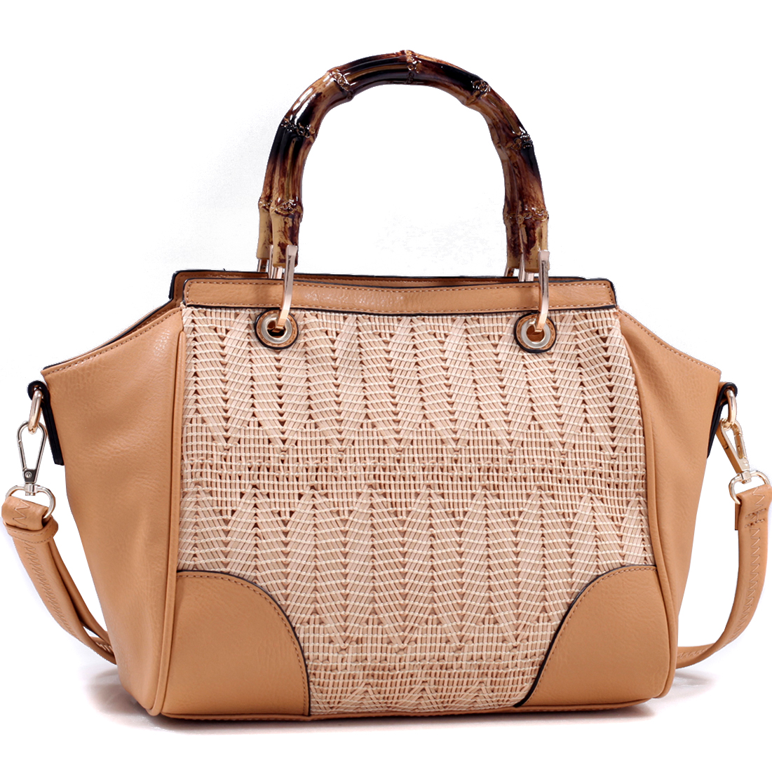 Wooden Handle Satchel Bag with Mesh Deco
