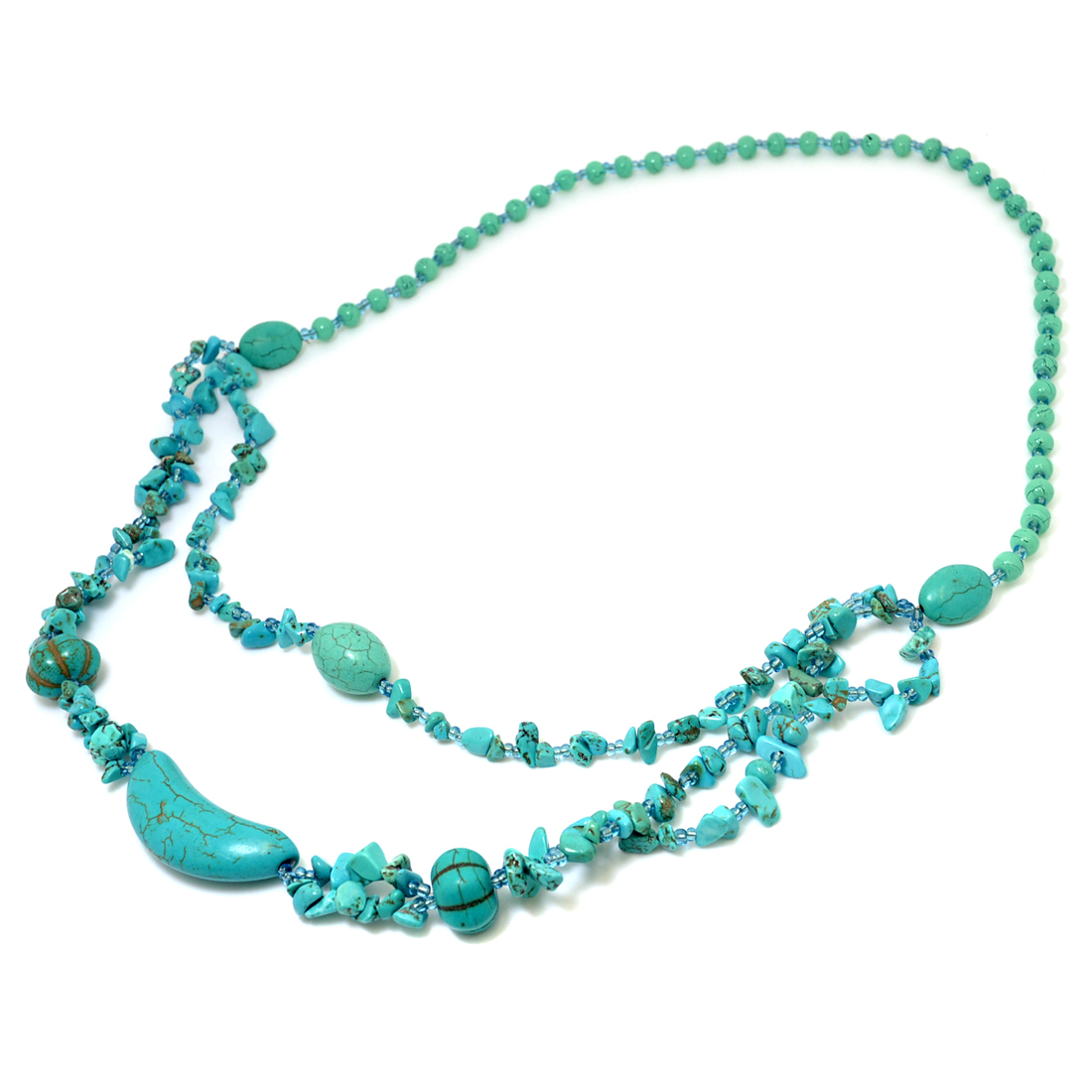 2-Strand Turquoise Chip Beaded Pendant Necklace