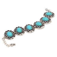Vintage-Inspired Turquoise Stone Accent Bracelet