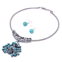 Turquoise Peacock Pendant Necklace Earring Jewelry Set