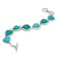 Heart Shaped Turquoise Bracelet with Bar and Ring Closure