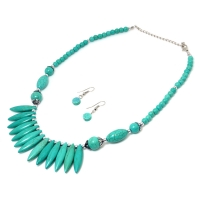 Spiked Turquoise Silver-Tone Necklace and Earring Set