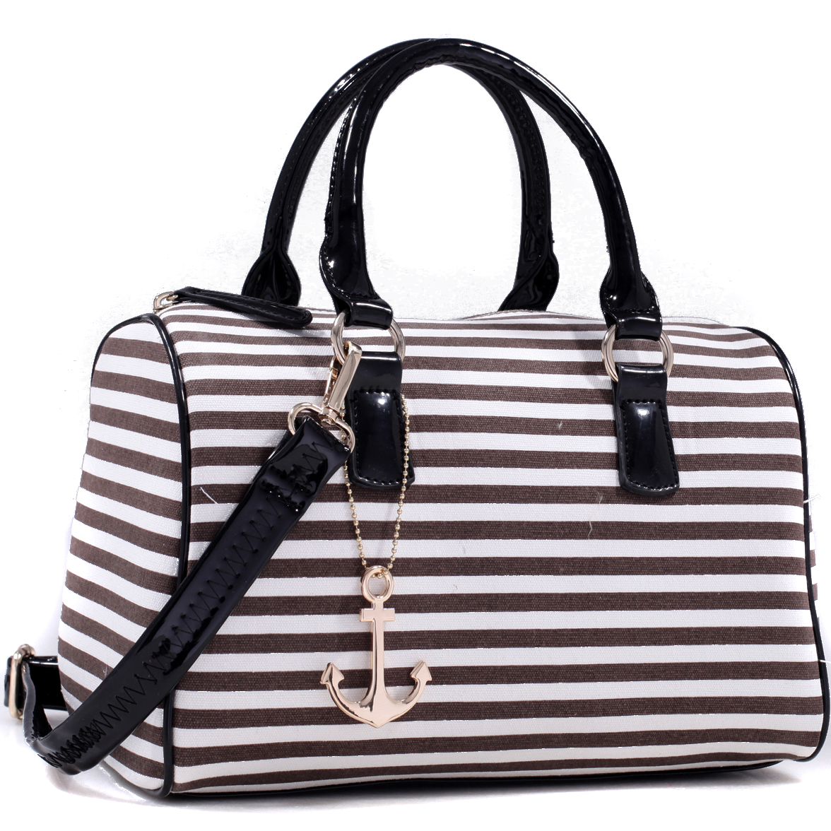 Anchor Canvas Striped Satchel Bag with Removable Shoulder Strap