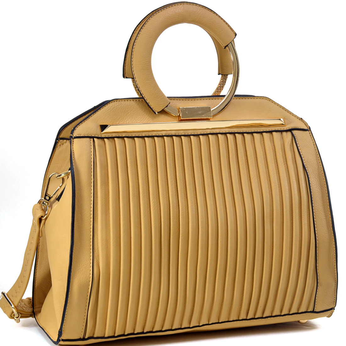 Ridged Vegan Leather Gold-Tone Circle Handbag