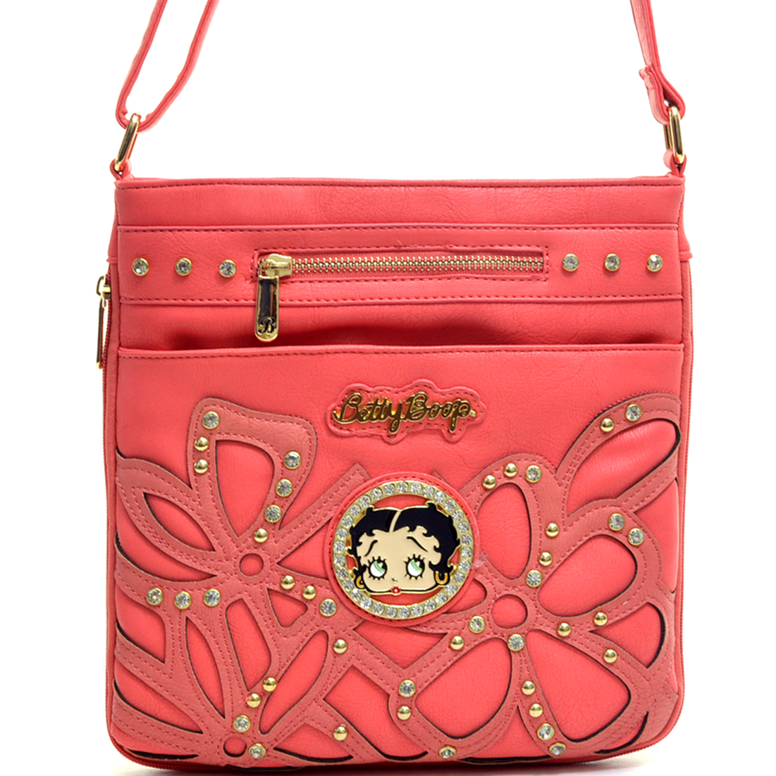 Betty Boop® Floral Stitched Rhinestone and Studs Shoulder Bag