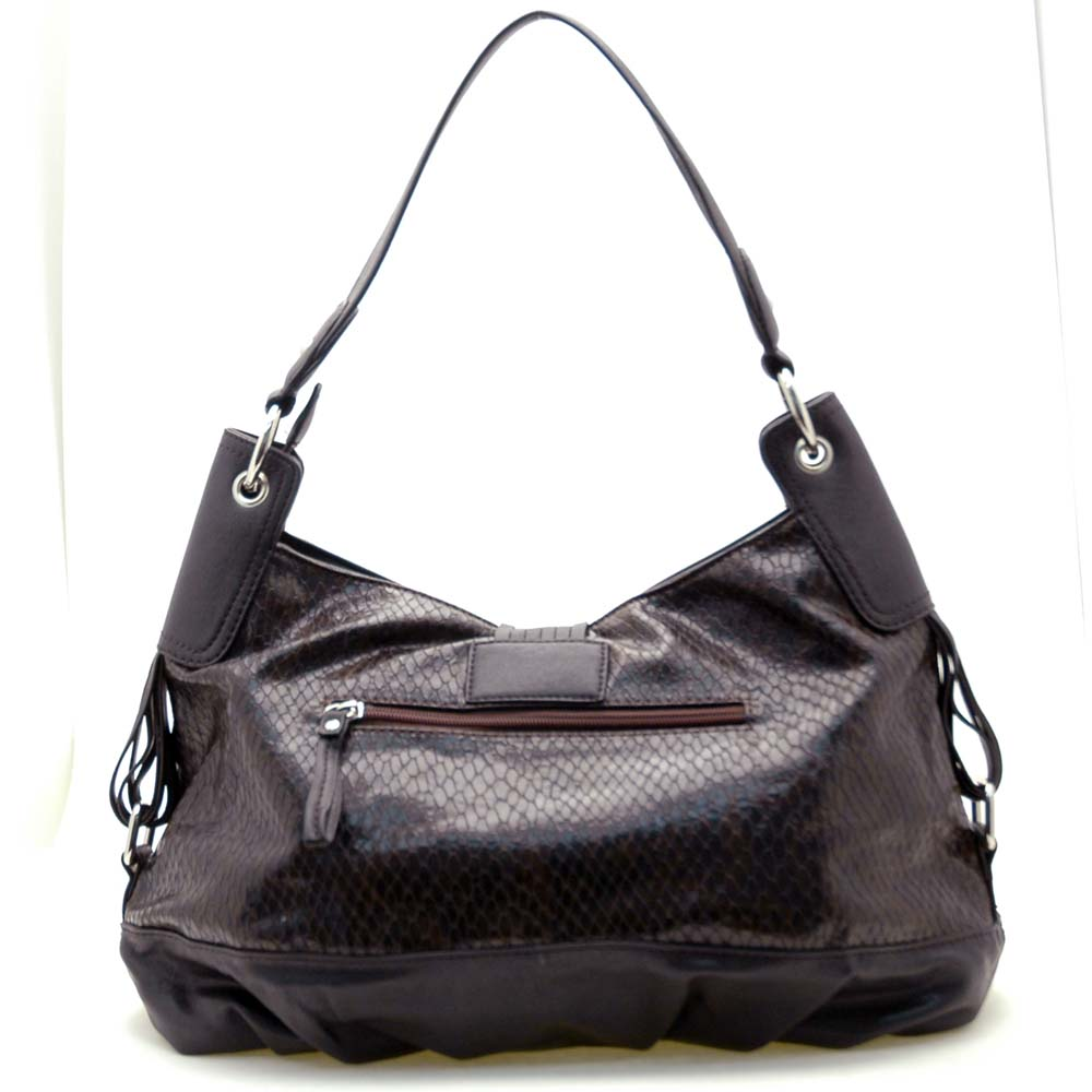 Dasein Two-Tone Python Embossed Flap Over Front Hobo Bag