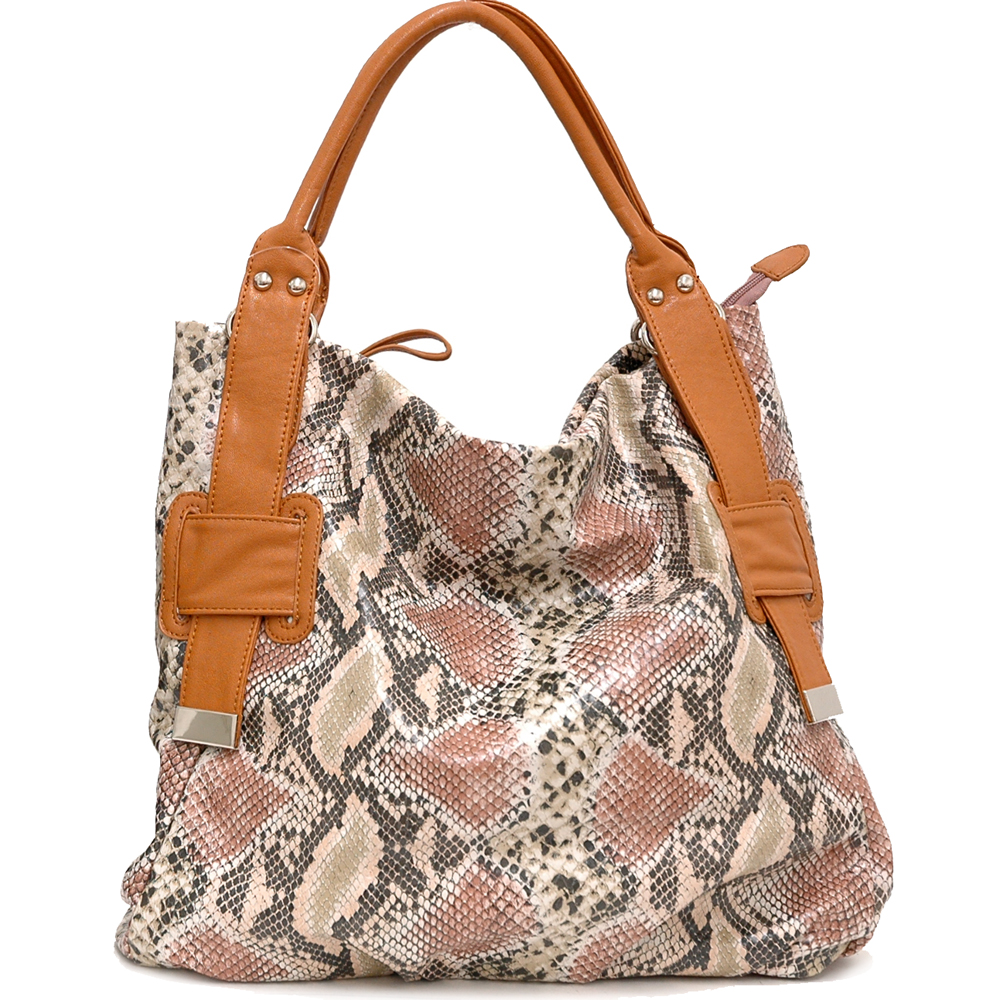 Two-Tone Python Embossed Tote Bag