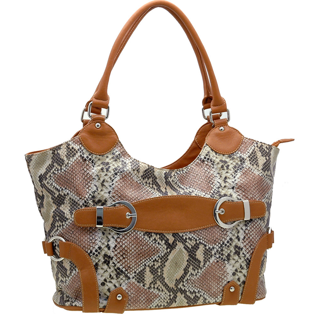 Python Embossed Belts Accented Handbag