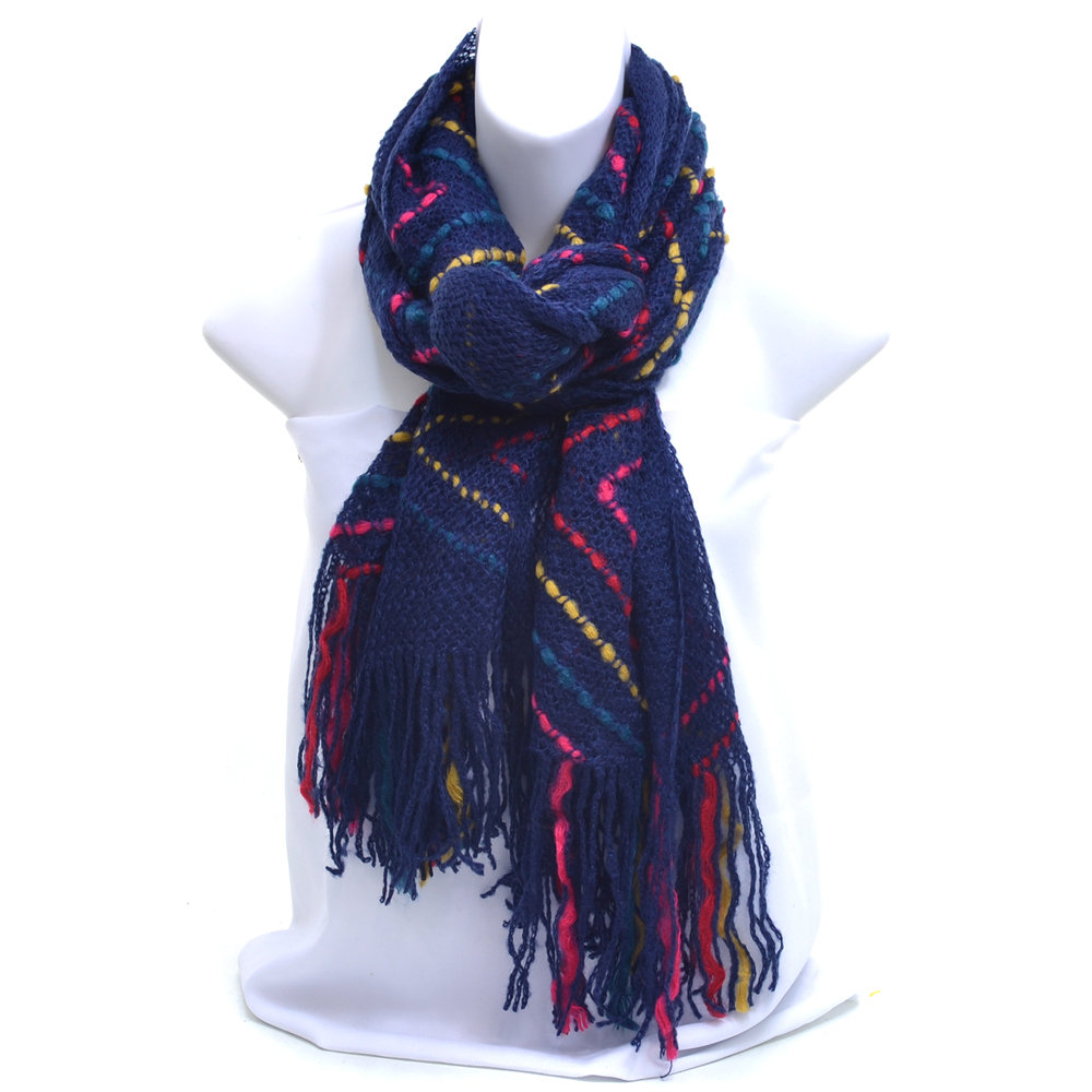 Multi-Color Zig-Zag Knit Fashion Scarf