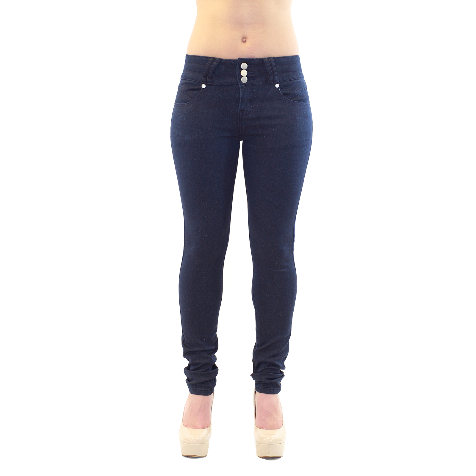 Mid Waist Button-On Dark Navy Wash Denim