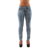 Light Blue Acid Washed Mid-Waist Denim Jeans