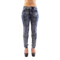 Blue Acid Washed Mid-Waist Denim Jeans